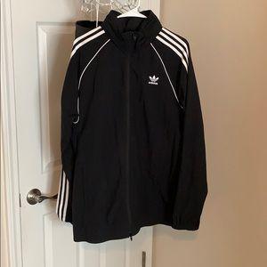 Black/White Adidas Windbreaker. Hood inside collar